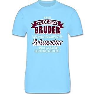 Bruder & Onkel - Ich Bin stolzer Bruder - L - Hellblau - L190 - Herren T-Shirt Rundhals