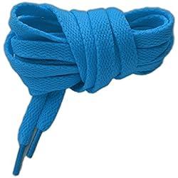 Cordones deportivos planos de alta calidad 125cm azul fluorescente