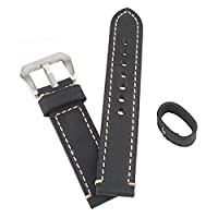 WEONE Black 24mm Genuine Leather Watch Band Wristwatch Strap Watchband Stainless Steel Buckle