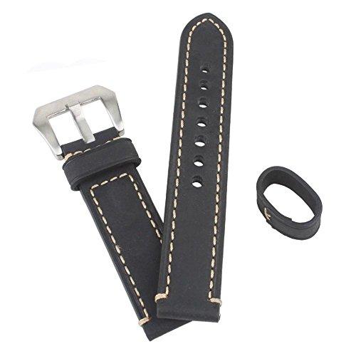 weone-black-22mm-genuine-leather-watch-band-wristwatch-strap-watchband-stainless-steel-buckle