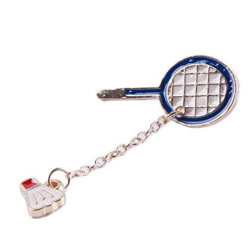 (Ellepigy Persönlichkeit Pingpong Badminton Brosche Pins Kleidung Taschen Rucksäcke Jacke Abzeichen Zubehör für Frauen, Badminton)