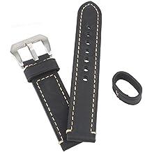 WEONE Negro 24mm de cuero genuino reloj de reloj de la venda de la correa correa