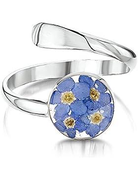 Silberschmuck mit echten Blumen: verstellbarer Ring - Vergissmeinnicht - rund - in Geschenkbox
