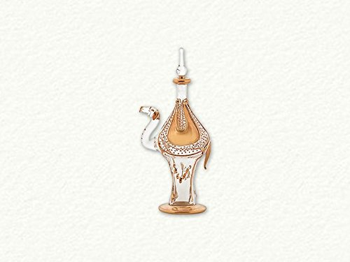 Clear and Gold Camel Egyptian Blown Glass Perfume Bottle -