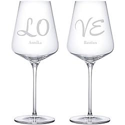 Set de 2 copas de vino con grabado de alta calidad – LOVE – Personalizada con nombre