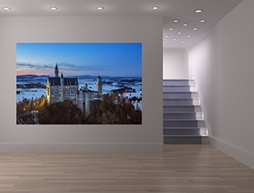 Fototapete selbstklebend Schloß Neuschwanstein am Abend - Deutschland - 150x100 cm - Wandtapete - Poster - Dekoration - Wandbild - Wandposter - Bild - Wandbilder - Wanddeko (Poster Schloss Neuschwanstein)