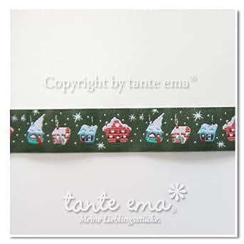 """Tante Ema - Bordino originale della marca """"tante ema"""", motivo con casette innevate, prodotto venduto a metro (unità di vendita = 50cm; per esempio: 1 = 50cm; 2 = 1 m ...), Cotone, multicolore, 100 cm x 140 cm"""