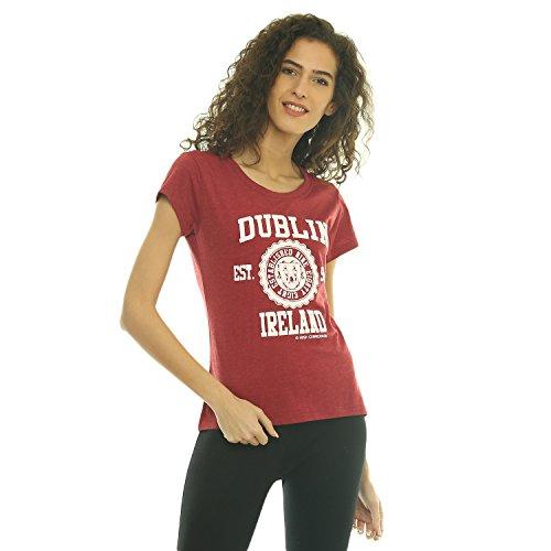 """Irish Connexxion Damen-T-Shirt """"Dublin Ireland EST 988"""" mit Rundem Ausschnitt, Burgunderrot"""