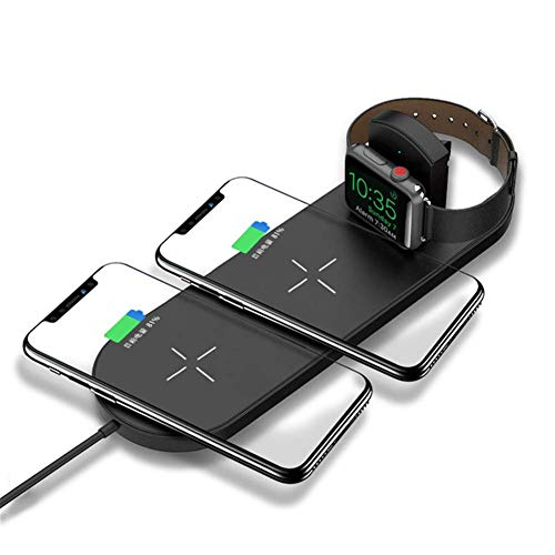 ZUZU 3 in 1 Fast Wireless Charger Dual Pad, Ultra-Thin Qi Charging Pad für Apple Watch 2 3 Dual Pad Charg für iPhone XS Max XR X 8 Plus für Samsung S9 S8 Note 9 8,A (Samsung Series 9 Charger)