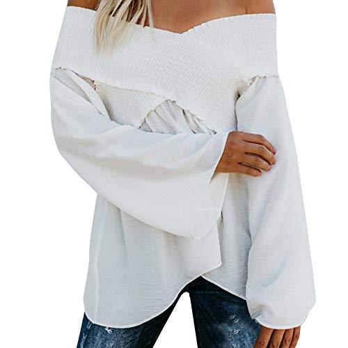 T-Shirt Donna Sexy Taglie Forti, ITISME T-Shirt Maniche Lunghe Donna Sexy Chic Casua Hauts Bandage Tinta Unita Camicetta T-Shirt Senza Spalline Easy Spalla Femme, 2019