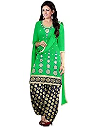 KanishaTrendz Women's Cotton Embroidery Work Party Wear Semi-Stitched Dress Material(KT-Green Patiala_Green_Free...