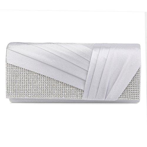 Clasichic Damen Frauen Hochzeit Clutch Elegant Abendtasche Handtasche (Silber)
