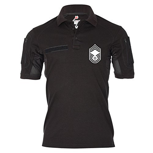 Tactical Poloshirt Alfa - Chief Master Sergeant U.S Air Force Dienst Hemd #19031, Größe:XL, Farbe:Schwarz (T-shirt Force Schwarz Air)