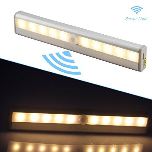 Luz del sensor de movimiento, luz recargable de la noche del USB LED, palillo-dondequiera Las luces del armario luces de la escalera, luces seguras para el pasillo, cuarto de baño, dormitorio, cocina, etc. (Blanco cálido)