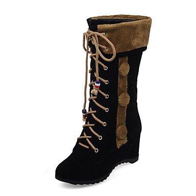 RTRY Scarpe Da Donna In Pelle Nubuck Autunno Inverno Comfort Novità Moda Stivali Stivali Tacco A Cuneo Punta Stivali Mid-Calf Lace-Up Per Office &Amp; US7.5 / EU38 / UK5.5 / CN38