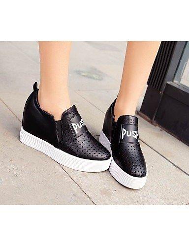 Shangyi Gyht Chaussures Femme - Mocassins - Loisirs / Décontracté - Plates-formes / Flâneurs / Bout Arrondi - Compensé - Similicuir - Noir / Blanc Noir