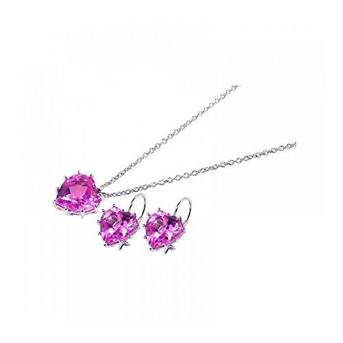 Rhodium beschichtetes Set aus Sterling Silber Herz rosa Zirkonia Haken Ohrring & Halskette Set (10k White Gold Rosa Herz Ring)