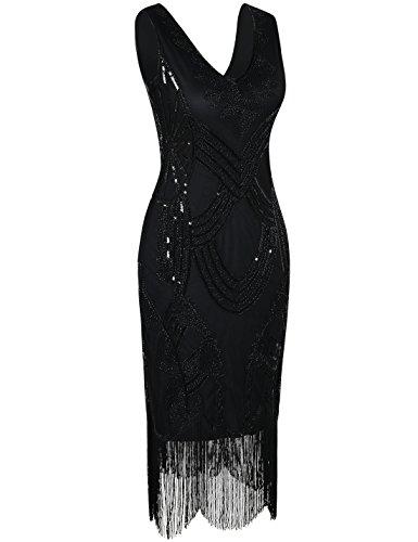 PrettyGuide Damen 1920er Gatsby Art Deco Perlen Franse Flapper Charleston Kleid Schwarz