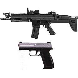 Airsoft-Pack Duo Fusil et Pistolet à Billes FN Scar électrique et FNS-9 à Ressort (0.5 Joule) + 500 Billes