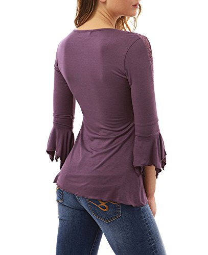 Minetom Damen Sommer Sexy 3/4-Arm V-Ausschnitt T-Shirt Mit Schnürung Tops Frauen Beiläufige Normallacks Plissierte Blouse Oberteile Violett