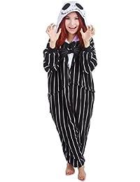 La pesadilla antes de Navidad Jack Skellington esqueleto Mono Hombres Adultos mujeres Unisex Animal Kigurumi Cosplay traje de pijama Nonopnd Nightclothes Onesies disfraz de Halloween ropa, negro, L (172 cm-180 cm)