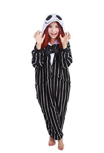 Imagen de disfraz de pesadilla antes de navidad, jack skellington, esqueleto, mono, para hombres y mujeres adultos, unisex, animal, kigurumi, cosplay, pijama, nonopnd, de una pieza, disfraz de halloween, prenda de vestir, negro