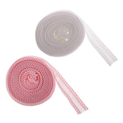 IPOTCH 2 Rollos, 10 Yardas, Pliegue Multiusos Sobre Borde de Encaje Elástico para Costura Manualidades 18 mm