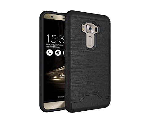 Coque ASUS ZenFone 3 Z012D case ZE552KL Dans Design Brossé Housse portefeuille avec Kickstand TPU + PC Protection contre les chocs Housse de protection pour ASUS ZenFone 3 Z012D ZE552KL (Noir)