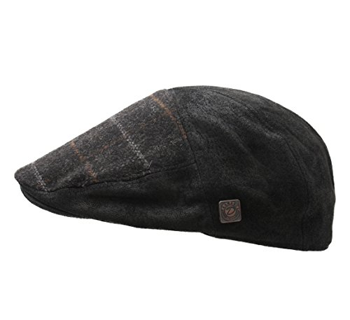 Dasmarca - Béret - casquette plate cuir homme Aston Anthracite