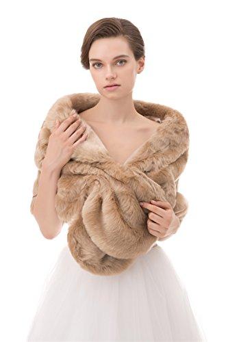 Insun Mujeres Chales Estolas de piel Boleros Chal de moda de lujo para fiesta bodas Caqui 160 x 40 cm