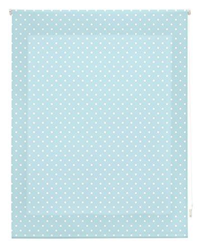 Blindecor  -  Estor Enrollable, Tela , Turquesa con motas blancas, 130 x 180 cm