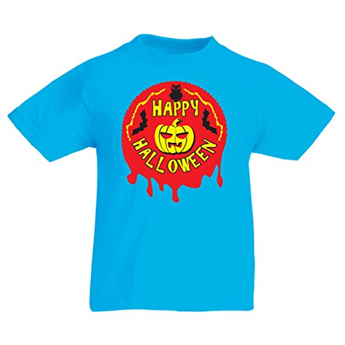 Kinder T-Shirt Happy Halloween! - Party Clothes - Pumpkins, Owls, Bats (9-11 Years Hellblau Mehrfarben)