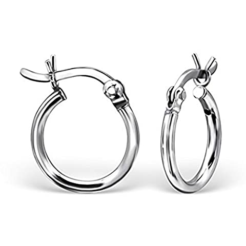 Pair of Hoop Earrings Size: 12mm - French Lock - Real Sterling Silver - Boxed