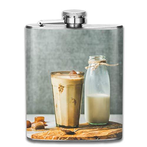 flasks Stainless Steel Flasks 7 Oz Iced-Caramel-Latte-Coffee-Cocktail-and-Milk-in Whiskey Flask Hip Flask Leak Proof Wine Men Women