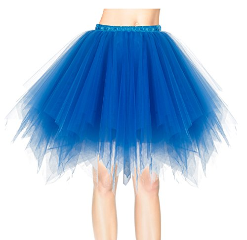Dresstells 50er Vintage Petticoat Winter Falten Rock Tüllrock Kurz Ballett Tanzkleid Abendkleid Gelegenheit Zubehör Royal Blue XL (Rock Blau Royal)