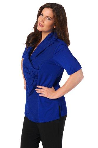 Ulla Popken Damen große Größen bis 62/64 | Taft-Shirt | Schalkragen, Wickeloptik, Jersey | Regular Fit | 683894 Mitternachtsblau