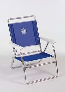 """FORMA MARINE chaise de plage pliable """"Plaz"""" Structure en aluminium anodise Ø 25mm, Tissu: Textilene 650gr/m2, bleu. Pour usage exterieur, plage, camping,plein air,pique-nique. Pliante PA600B"""