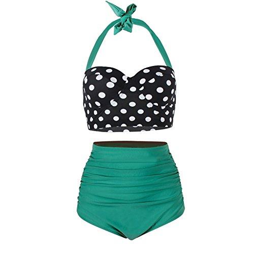 Yooeen Damen Hoher Taille Badeanzug 50er Retro Polka-Punkt Badeanzüge Bademode Zweiteiler Bikini Set Schwimmanzug