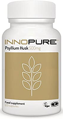 Pure Psyllium Husk Fibre 120 Capsules, 500mg | Half Price Introductory Offer | High Grade, No Fillers or Binders | Vegan, Vegetarian Society Approved