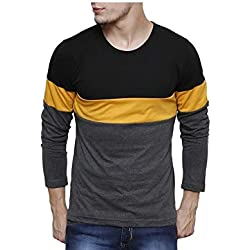 Urbano Fashion Men's Black, Grey, Yellow Round Neck Full Sleeve T-Shirt,Black,Small