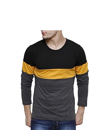 Urbano Fashion Men's Black, Grey, Yellow Round Neck Full Sleeve T-Shirt (Size: X-Large)