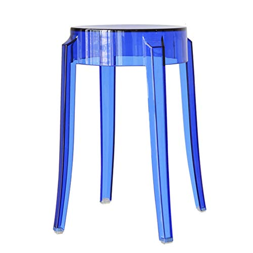 Hocker kristall kunststoff esszimmerstuhl dressing hocker hause transparent hocker tragbare stapelhocker make-up hocker geschenk gewicht lager 100 kg ( Color : BLUE , Size : 39.5*39.5*46CM )