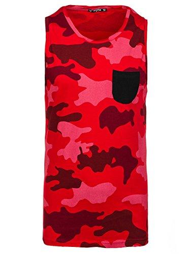 BOLF Herren Tanktop T-Shirt Ärmellos Motiv Casual Military Army Sommer 3C3 Camo Rot