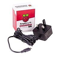Raspberry Pi 4 Official Power Supply USB-C - UK Plug 5.1V 3A Black