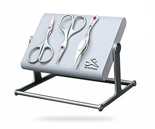 Ringlock 3 pièces en acier inoxydable Set de salle de bain pour femme (spécial Étui magnétique avec support tournant/ciseaux à ongles/pince à épiler et Cuticule Ciseaux)