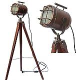 Antikes Messing-Holz mit Dreibein-Lampe, Spot-Fokus, Suchscheinwerfer, Kupfer (Antik)