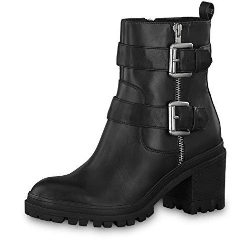 Tamaris Damen Stiefeletten 25907-23, Frauen Biker Boots, Frauen weibliche Lady Ladies feminin elegant Women's Women Woman leger,Black,39 EU / 5.5 UK
