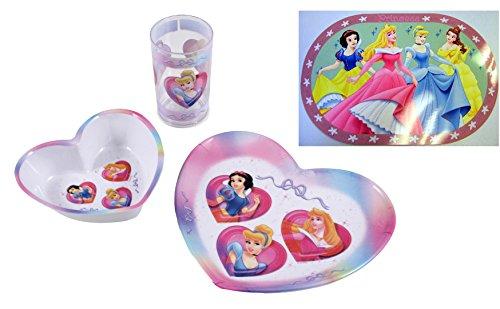 Disney Princess Mädchen Geschirr Ess-Set Teller Trinkbecher Schale + gratis ()