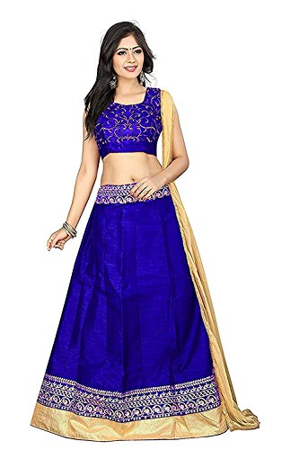 Maxthon Fashion Women's Benglory Silk Lehenga Choli (Max lehengha 4062) (Blue) (Free...