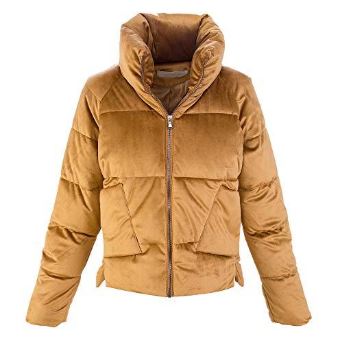 Damen Winter Jacke Samtjacke Trichterkragen Steppjacke Wattierte Jacke Bomberjacke Damenjacken Gefüttert Warm Stehkragen D-404 Beige S
